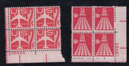 Lot Of 2, Sc#C60 7c 1960 & #C72 10c 1968 Airmail Issues, Two Plate # Blocks Of 4 US Postage Stamps - Air Mail