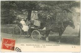 WW PARIS MODERNE. Vieux Métiers. Les Femmes Cocher Cochers. Le Matin Au Bois Avec Attelage Taximètre 1908 - Petits Métiers à Paris