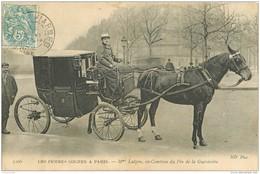 WW PARIS. Vieux Métiers. Les Femmes Cocher. Mm Lutgen Ex-Comtesse Du Pin De La Guérinière Et Son Fiacre Taxi 1903 - Petits Métiers à Paris