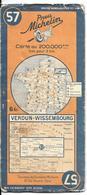 CARTE-ROUTIERE-MICHELIN-N °57-REVISEE1939-VERDUN-WISSEMBOURG-BE ETAT-Pas De Plis Coupés - Cartes Routières