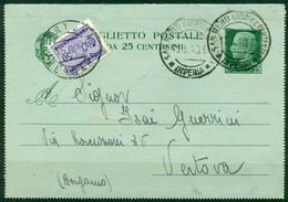 V8683 ITALIA REGNO 1940 Biglietto Postale 25 C., Fil. B31, Interitalia 33, Tassato In Arrivo Segnatasse 50 C., - Interi Postali