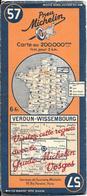 CARTE-ROUTIERE-MICHELIN-N °57-REVISEE1938-VERDUN-WISSEMBOURG-TBE ETAT-Pas De Plis Coupés - Cartes Routières
