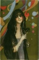 CHIOSTRI SIGNED 1910s POSTCARD - WOMAN WITH MASK - BALLERINI & FRATINI N. 189 ( BG91) - Chiostri, Carlo