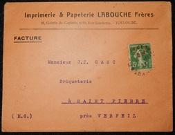 ENVELOPPE 1913 IMPRIMERIE PAPETERIE LABOUCHE FRÈRES TOULOUSE - Marcophilie (Lettres)