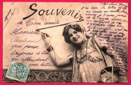 Fantaisie - Phototypie BERGERET - Souvenir - Femme - Tambourin - Convoyeur DIEPPE à ROUEN 1904 - Bergeret