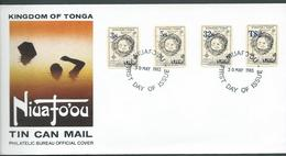 Tonga 1983 Surcharge On Island Map Set Of 4 On Illustrated Official  FDC Unaddressed - Tonga (1970-...)