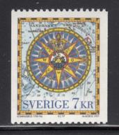 Sweden 1997 MNH Sc #2233 7k Compass Rose, 18th Century Atlas - Suède