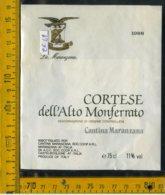 Etichetta Vino Liquore Cortese Dell'Alto Monferrato 1988 Asti - Etichette