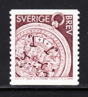 Sweden 2000 MNH Sc #2373 (5k) Face Of Watch Of King Karl XII, Claret Brown - Suède