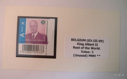 BELGIUM 2009 - King Albert II. For Rest Of The World, Value 3 (stamp With Bar Code And Date On Margines), SG4227 -  MNH - Bélgica