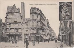 CPA Angers Avec Publicité Liqueur Cointreau - Place Sainte-Croix Et Rue Chaperonnière (avec Animation) - Angers