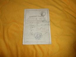 PERMIS DE CHASSE ANCIEN DE 1880. FAIT A SEMUR..MINISTERE DE L'INTERIEUR DEPT. DE LA COTE D'OR. CACHET POLICE GENERALE.. - Vieux Papiers