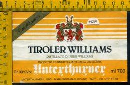Etichetta Vino Liquore Tiroler Williams Unterthurner BZ - Altri