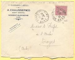 FRANCIA - France - 1929 - 75c Semeuse - Cies D'Assurances L'Abeille, A. Chaussepied - Viaggiata Da Nogent-sur-Seine Per - 1903-60 Semeuse A Righe