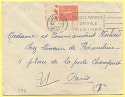 FRANCIA - France - 1932 - 50c Semeuse + Flamme Visitez Poitiers Capitale De L'Art Roman - Viaggiata Da Poitiers Per Pari - 1903-60 Semeuse A Righe