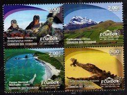 ECUADOR, 2018, MNH, GREEN DESTINATION, REPTILES, IGUANAS, CAYMANS, FROGS, MOUNTAINS, 4v - Reptiles & Amphibians