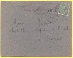 FRANCIA - France - 1920 - 15c Semeuse - Sous-préfecture - Viaggiata Da Nogent-sur-Seine Per Troyes - 1903-60 Semeuse A Righe