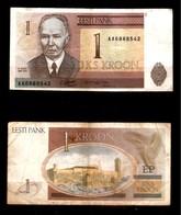 Estonia , ESTLAND  1 Kroon 1992 Pick 69.a CIRCULADO - CIRCULATED - Estonie