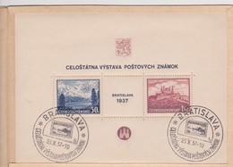 Czechoslovakia Scott 239 1937 Bratislava Philatelic Exhibition Souvenir Sheet Folder.used, - Czechoslovakia