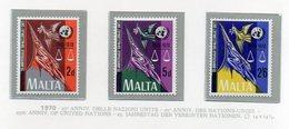 Malta - 1970 - 25° Anniversario Delle Nazione Unite - 3 Valori - Nuovi - Vedi Foto - (FDC14028) - Malta