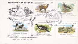 PROTECCION DE LA VIDA SILVESTRE-FDC BUENOS AIRES 1984 CARD 5 DIFFERENT STAMPS- BLEUP - Autres