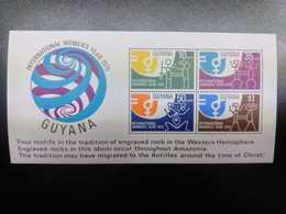 O) 1975 GUYANA, PETROGLYPH -IWY-SYMBOLIC MAN AND WOMAN SCT 21INTERNATIONAL WOMEN'S YEAR-ENGRAVED ROCKIN THE WESTERN HEMI - Guyana (1966-...)