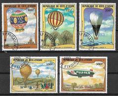 COSTA D'AVORIO   1983  POSTA AEREA  ASCENSIONE DELL'UOMO NELL'ATMOSFERA YVERT. 77-81 USATA VF - Costa D'Avorio (1960-...)
