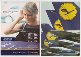 1265/ LUFTHANSA 2 Advertising Cards / Cartes Publicitaires / Cartoline Pubblicitarie, Postales Publicitarias. Unused. - 1946-....: Era Moderna