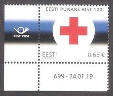 Red Cross 100  Estonia 2019 MNH Corner Stamp With Issue Number Mi 943 - Estonie