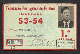 Portugal Carte Presse Federation Portugaise Football FPF 1953 - 54 ID Press Card For Soccer Stadiums - Football