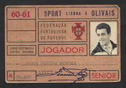 Portugal Carte Jouer Federation Portugaise Football FPF Sport Lisboa E Olivais 1960 - 61 Official ID Card Soccer Player - Football
