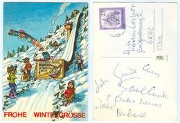 AK Skisprungschanze Skispringer Frohe Wintergrüße Humor Anti-Raucher-Werbung Österreich - Wintersport