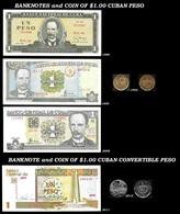 CUBA. Set Of 4 Cuban Banknotes And 2 Coins Of 1.00 Cuban Peso. Havana. - Cuba