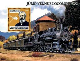 Guinea Bissau  2005 Steam Trains & Jules Verne Gold Embossed - Guinée-Bissau