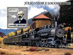 Guinea Bissau  2005 Steam Trains & Jules Verne , Silver  Embossed - Guinée-Bissau