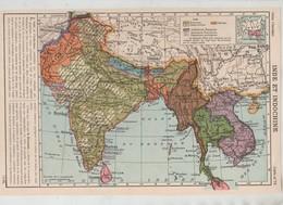 Carte Inde Et Indochine 1949 Pakistan Népal Bhoutan Assam Bengale Birmanie Siam Cambodge Cochinchine Ceylan - Cartes Géographiques