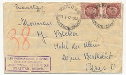 """Enveloppe Affr 1,50 Pétain X2 Pneumatique  - Paris 49 Rue Des Petits Champs Paris 1942 - Cachet Rect """"les Pneumatiques.. - 1941-42 Pétain"""