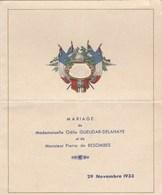MENU..MARIAGE   29 N0VEMBRE 1933 - Menus
