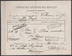 """Lettre De Voiture - Compagnie Anonyme Des Bronze Bruxelles Pour WAREMME - 24 Août 1877 - Càd Oblong """"Bruxelles/Dusquesno - Railway"""