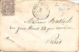 SAGE  Sur  ENV (DEF)  OBLI  TROUVILLE-SUR-MER  Pour  PARIS  + AU DOS PARIS 9 DIST ? - Postmark Collection (Covers)