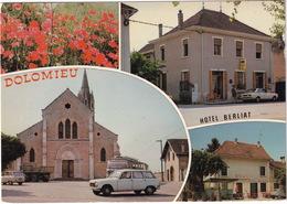 Dolomieu: AUDI 80 B1 'Hotel Berliat', PEUGEOT 204 BREAK, RENAULT 6, AUTOBUS, CAMION, Eglise - (Isère) - Passenger Cars