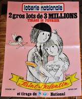 Rare Affichette 30x40 Cm Loterie Nationale Tirage St Valentin Dessin De Peynet Années 70-80 - Plakate