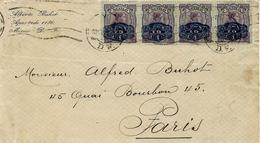 Date Imprécise Années 30 - Enveloppe De Mexico Affr. Bande De 4  T P Surchargé 10 Centavos - Mexico