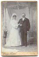 Marriage, Vintage Cabinet Photo On Cardboard, Atelier Georg Knittel  Essegg, Osijek Croatia, D 160 X 105 Mm - Foto Dedicate
