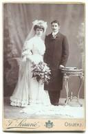 Marriage Couple, Vintage Cabinet Photo On Cardboard, Atelier F. Svirčević  Essegg, Osijek Croatia, D 160 X 105 Mm - Foto Dedicate