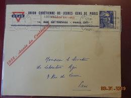 Lettre De 1952 Avec En-tete Publicitaire De UCJG Paris( Obl Mecanique) - Storia Postale