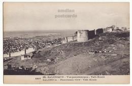 GREECE THESSALONIKI EARLY PANORAMIC VIEW, YEDI KOULE 1917 SALONICA VINTAGE POSTCARD - Greece