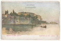 GREECE CORFU KERKYRA ROYAL PALACE AND HARBOUR 1910s  ASPIOTIS VINTAGE POSTCARD - Greece