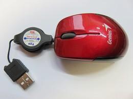 393 - Mini-souris De Voyage Genuis - Micro Traveler Usb - Rouge Métallisé - Connection Kits