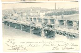Basel - Strassenbahn Tram Auf Notbrücke Und Alte Rheinbrücke Mit Kleinbasel 1905 - BS Basel-Stadt